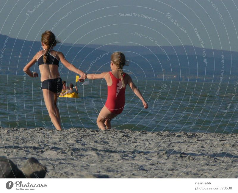 Come in the water with me. Summer Vacation & Travel Girl Lake Balaton Swimming & Bathing Water Joy Coast Sand