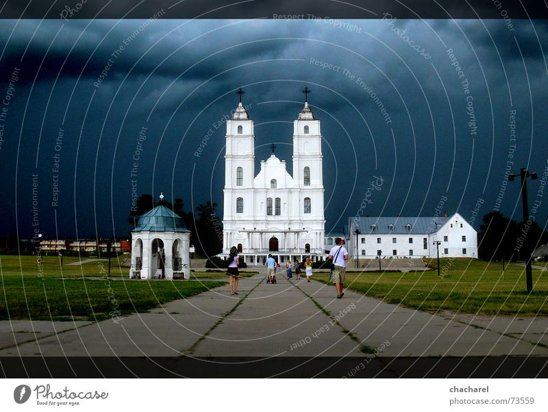Aglona Human being Summer aglona church storm clouds Wind white