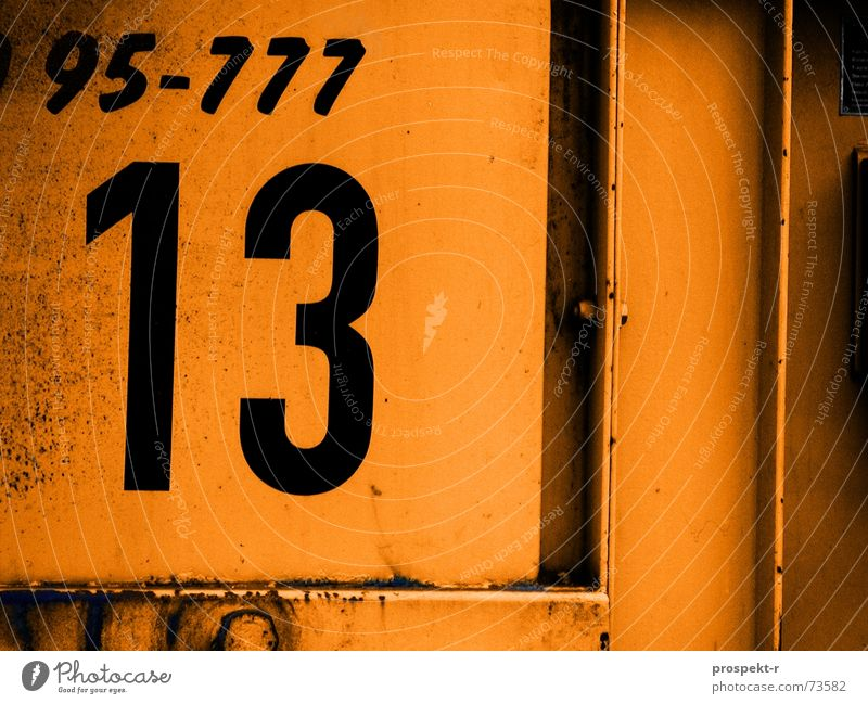 Line Orange Metal Digits and numbers Trash Rust Container 13 Symbols and metaphors