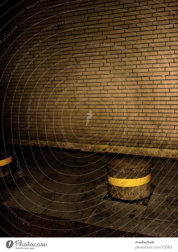 TRASHISM Wall (barrier) Brick Wall (building) Sidewalk Night Dark Trashy Style Yellow Eerie Gloomy Dirty Bremen architecture rootier Pole Floor covering