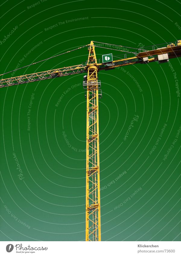 New World Crane Construction crane Background picture Green Construction site Lifting crane Working man Yellow Work and employment Produce Strong Force