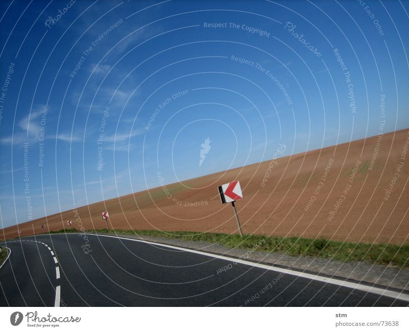 Sky Vacation & Travel Clouds Far-off places Street Think Field Signs and labeling Transport Curve Left In transit Turn off