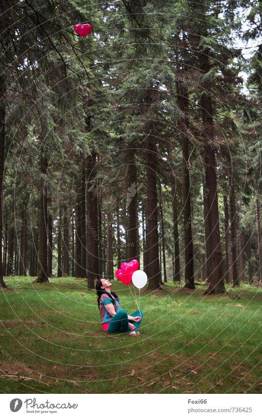 Human being Woman Tree Red Landscape Calm Joy Forest Adults Feminine Spring Grass Gray Wood Happy Feasts & Celebrations