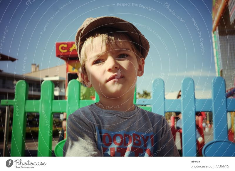 young boy at the fairground Beach Ocean Entertainment Fairs & Carnivals Masculine Child Boy (child) Infancy Head Hair and hairstyles Face 1 Human being