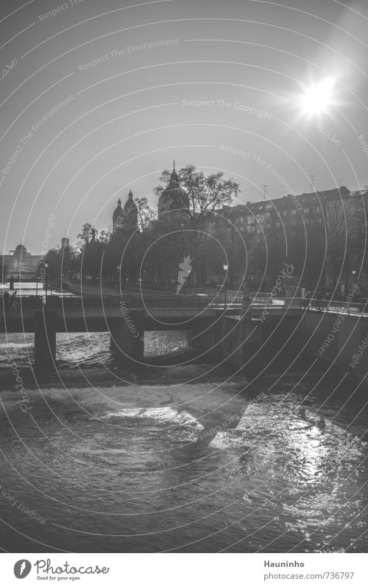 Munich black and white Tourism Sightseeing City trip Architecture Nature Water Sky Cloudless sky Sun Sunlight Spring Beautiful weather Tree River Isar Bavaria