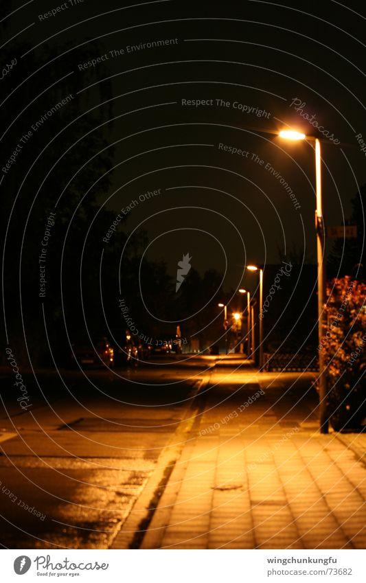Black Street Dark Rain Lighting Wet Signs and labeling Bushes Asphalt Lantern Sidewalk Aluminium Sepia