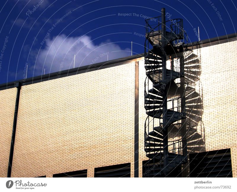 Sky Summer House (Residential Structure) Clouds Building Facade Stairs Factory Company Warehouse Go up Descent August Winding staircase