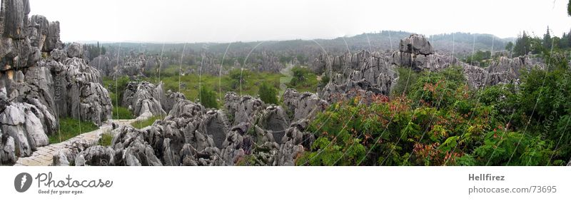 stone forest Stone Forest China Asia Kunming Panorama (View) Bird's-eye view Vantage point Chinese White Green Abrupt Nature Region Teatro Museo Dalí