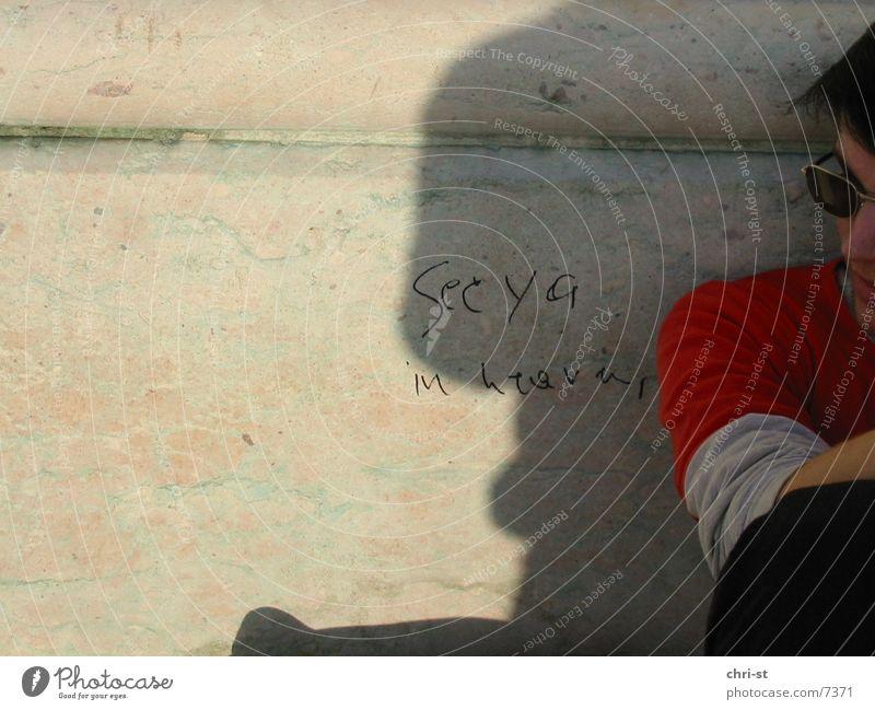 see ya in heaven Man Sunglasses Figure of speech Human being graffiti Shadow