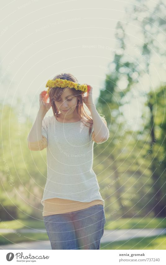Human being Child Nature Youth (Young adults) Vacation & Travel Green Summer Young woman Joy 18 - 30 years Yellow Adults Environment Life Feminine Playing