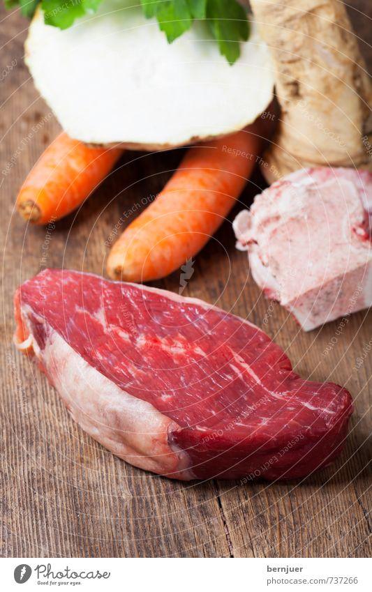 Healthy Eating Food Food photograph Cooking & Baking Good Vegetable Wooden board Meat Skeleton Carrot Cheap Raw Ingredients Slow food Celery Tafelspitz
