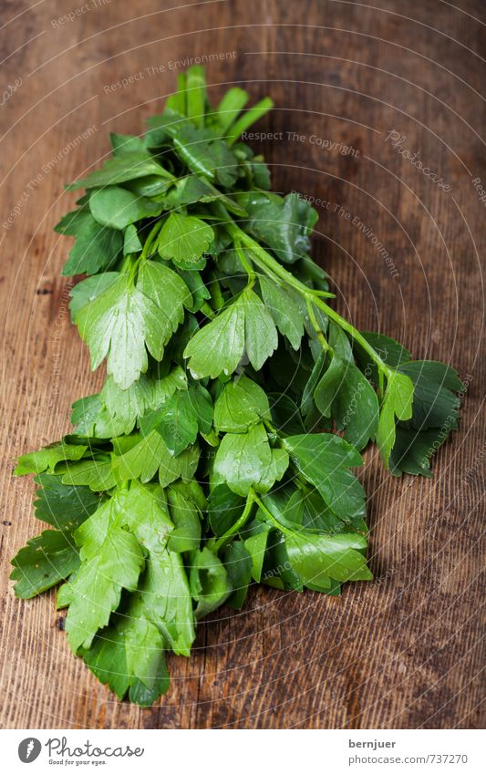 Bädasui Food Herbs and spices Nutrition Vegetarian diet Cheap Good Delicious Parsley smooth Bundle Wooden board Rustic Deserted Raw Wet Water Drop Dew Fresh