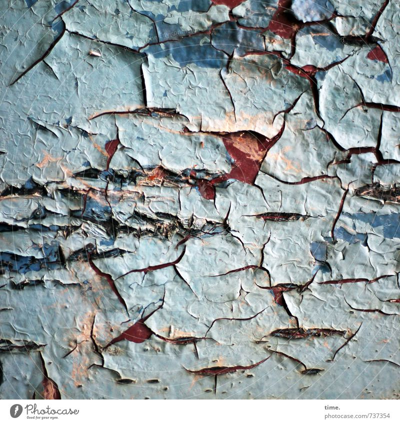 Dryness | Sunburn Varnish Crack & Rip & Tear Dye Surface structure Metal Old Authentic Broken Trashy Life Sadness Concern Grief Fatigue Disappointment