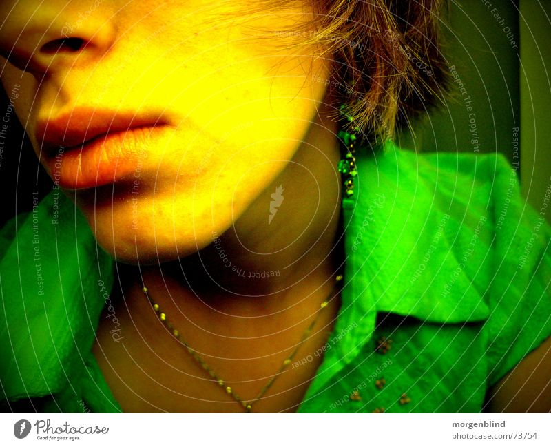salutary Yellow Green Lips Woman Moody Emotions Calm Face Smooth Mouth Snapshot