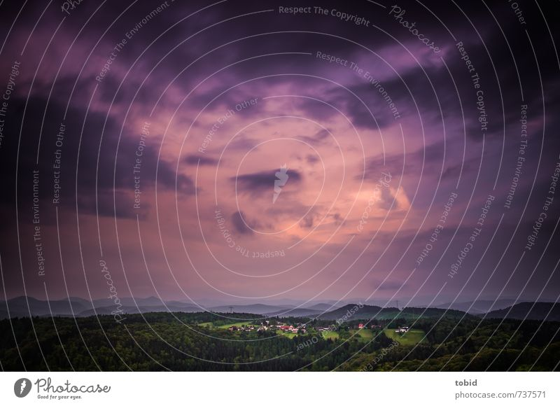 Bad weather Nature Landscape Plant Elements Air Sky Storm clouds Horizon Forest Hill Mountain Palatinate forest Village Threat Dark Far-off places Green Pink