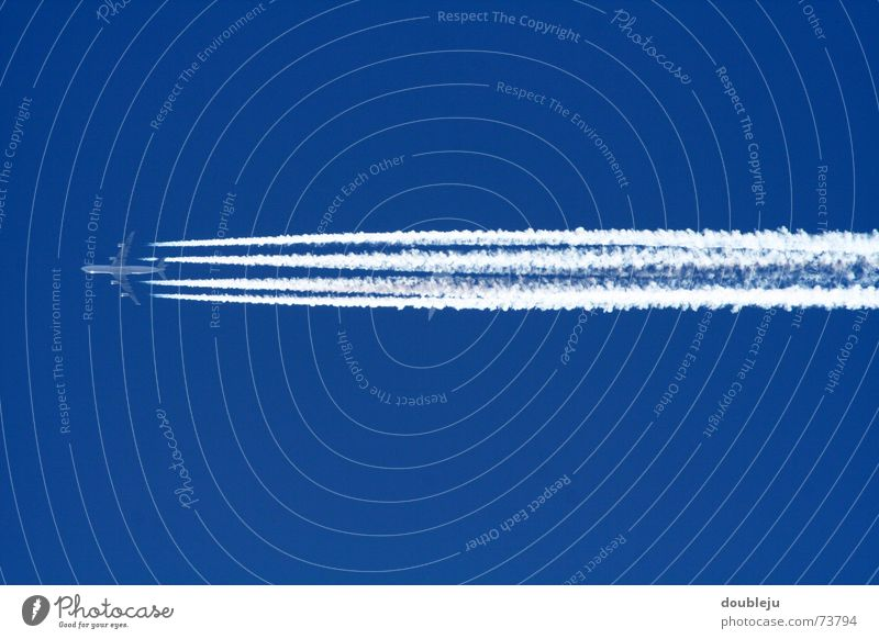we flying high Airplane Engines Vapor trail Far-off places Sky Level Blue Beautiful weather