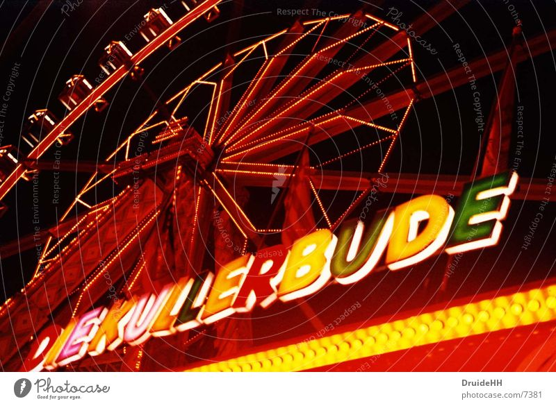 Red Yellow Fairs & Carnivals Neon light Bremen Ferris wheel