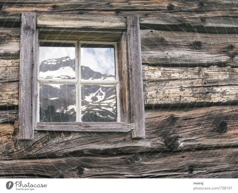With mountain view Spring Rock Alps Mountain Peak Snowcapped peak Hut Architecture Alpine hut Block plank Wooden house Window Glass Sharp-edged Simple Brown