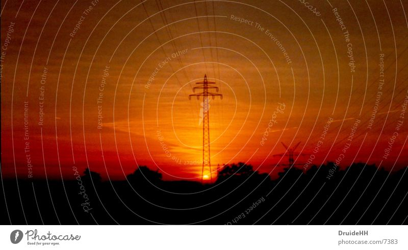 Energy Electricity Red Sunset Electricity pylon Energy industry