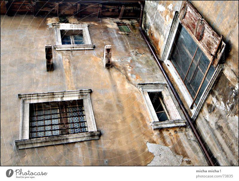 dilapidated harmony Window Dark Eerie Shutter Wood Facade Italy Lake Garda Alley Decline maroon Arco Mediterranean