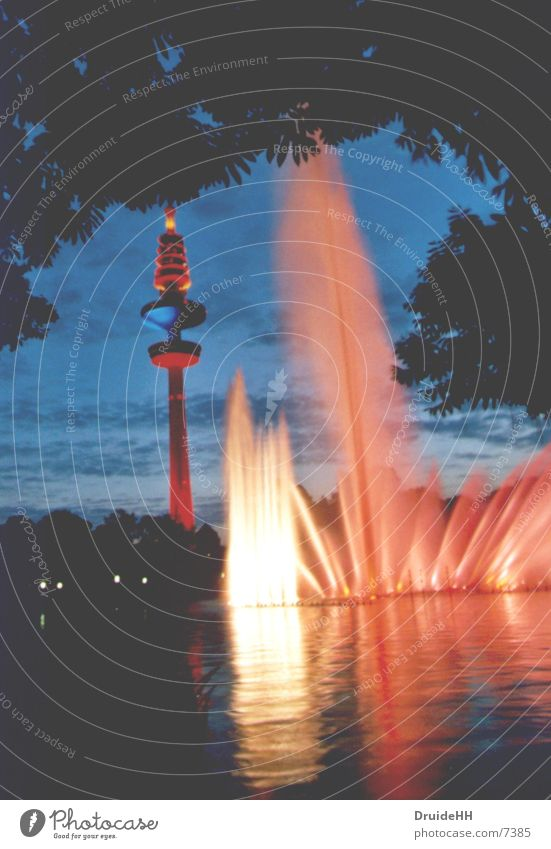 Colour Water Lighting Tall Hamburg Dusk Club Visual spectacle Television tower Fountain Water reflection Water fountain Hamburg TV tower
