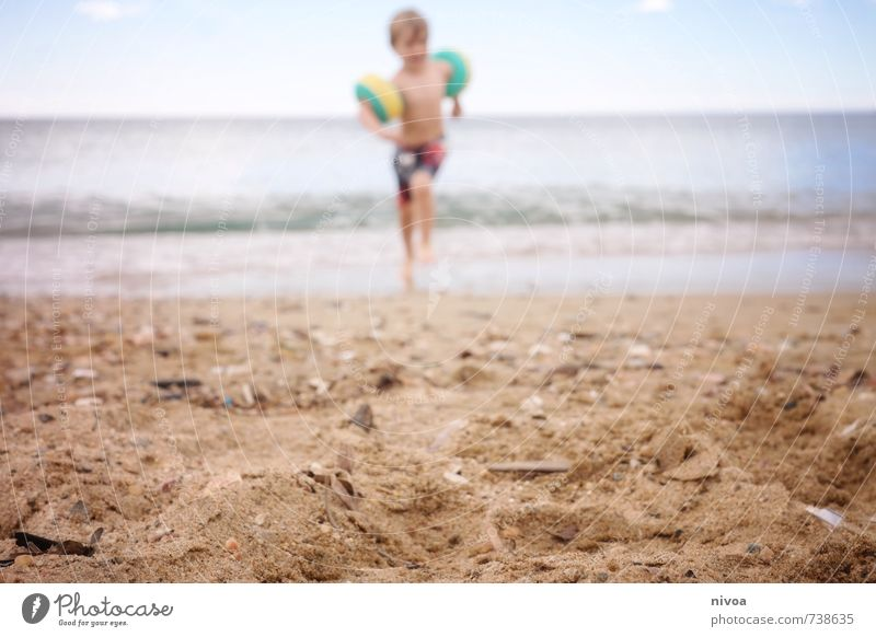 Human being Child Sky Vacation & Travel Summer Sun Ocean Beach Coast Boy (child) Laughter Swimming & Bathing Freedom Sand Weather Masculine