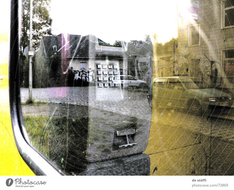 in.the.intermediate.world Reflection Smeared Dirty Phone box Yellow Window House (Residential Structure) Eerie 2 Gaudy Future Flashy Irradiated graffiti Dull