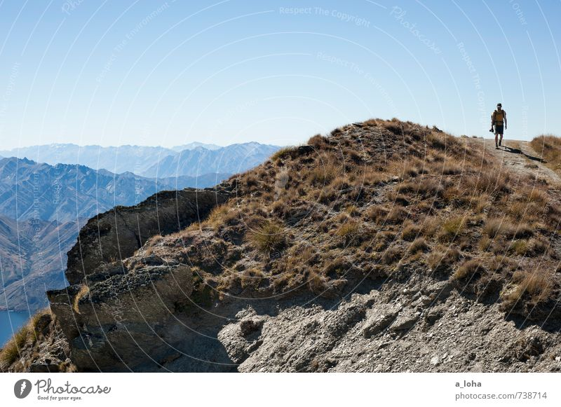 on the way Trip Adventure Far-off places Masculine Man Adults Nature Landscape Elements Earth Cloudless sky Autumn Climate Beautiful weather Grass Rock Alps