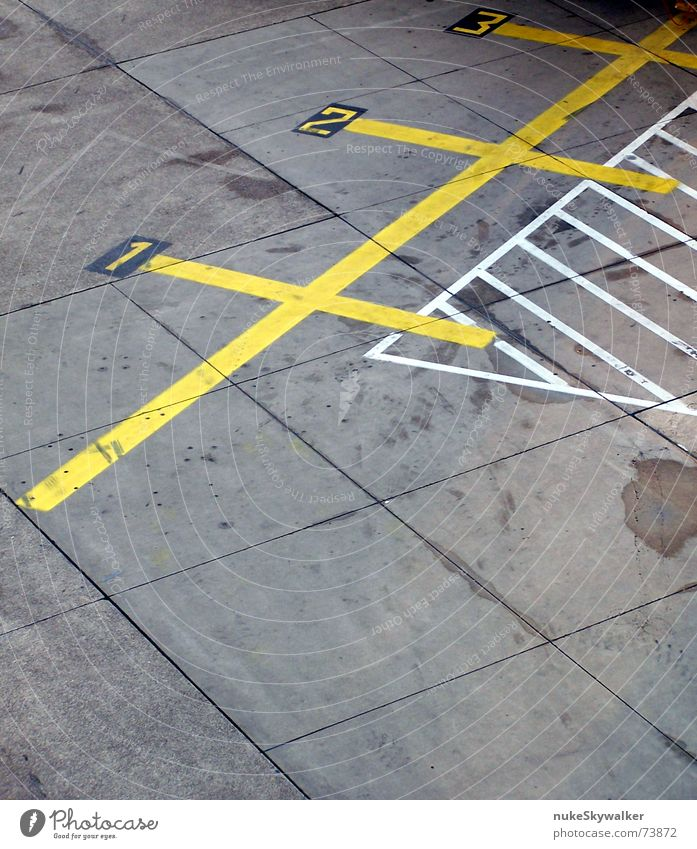 White Yellow Street 1 Gray Line 2 3 Digits and numbers Asphalt Airport Diagonal Parking lot First Runway Lane markings