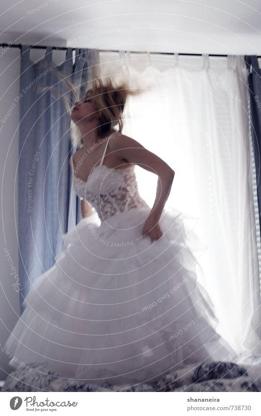 just married Fashion Dress Blonde Joie de vivre (Vitality) Feminine Wedding dress Bride Bedclothes Jump Wild Subdued colour Interior shot Day Motion blur