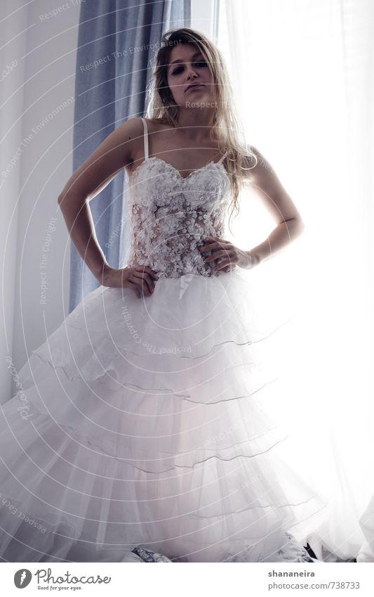 wanna marry me? Dress Wedding Wedding dress Blonde Long-haired Emotions Self-confident Cool (slang) Brave Resolve Bride Subdued colour Interior shot