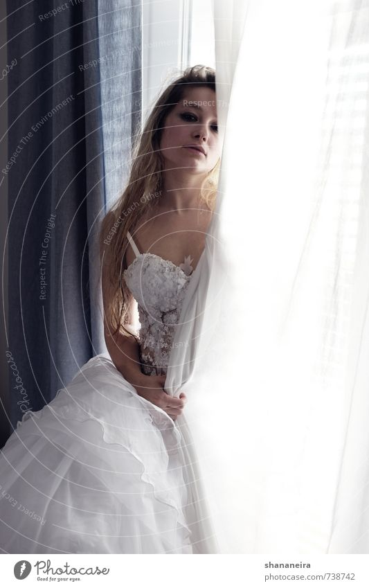 what is it good for? Fashion Dress Wedding Wedding dress Tulle Blonde Long-haired Love Loyalty Romance Eroticism Esthetic Elegant Bride Marriage proposal