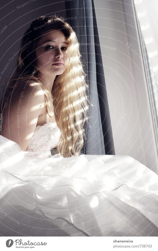 bride in the sun II Fashion Dress Wedding Wedding dress Tulle Blonde Long-haired Trust Warm-heartedness Love Romance Eroticism Elegant Pride Bride romantic