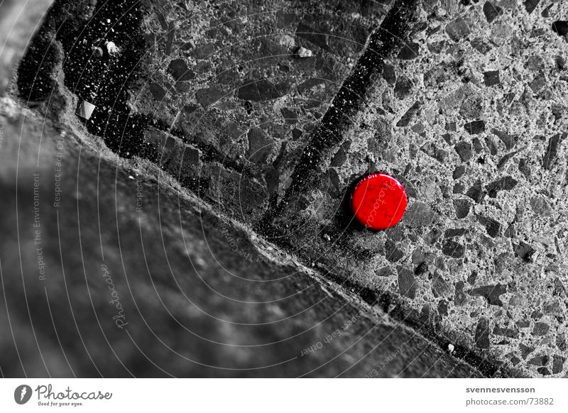red dot Crown cork Sidewalk Red Black & white photo Stone Gully steep