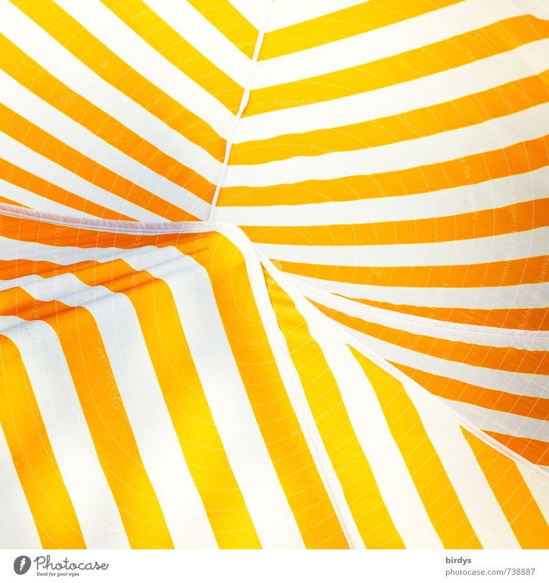 sunny stripes Sun blind Tent ceiling Line Stripe Illuminate Esthetic Positive Warmth Yellow Orange White Design Colour Abstract Colour photo Exterior shot