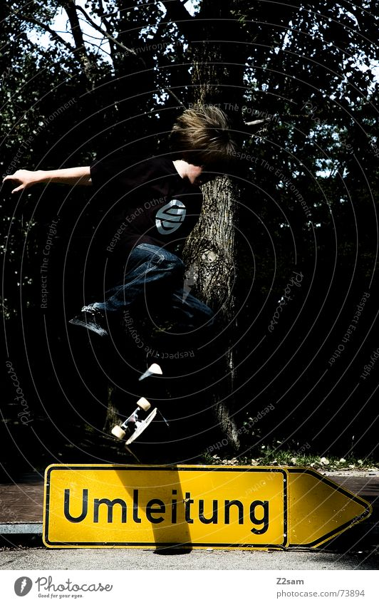 kickflip on detours II Diversion Skateboarding Halfpipe Kickflip Salto Stunt Trick Jump Child Sports Style Above Parking level Signs and labeling Funsport