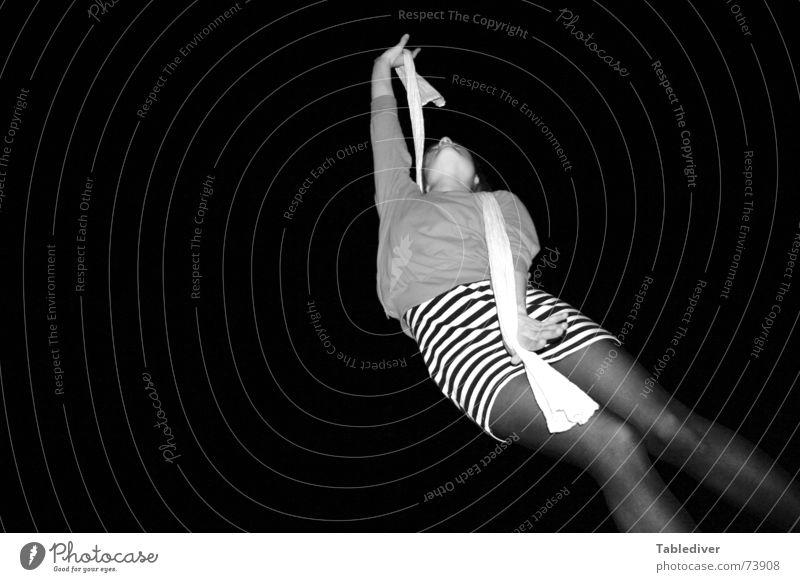 Woman White Black Legs Park Feasts & Celebrations Dance Dress Sofa Tights Striped Scarf Night life Lascivious