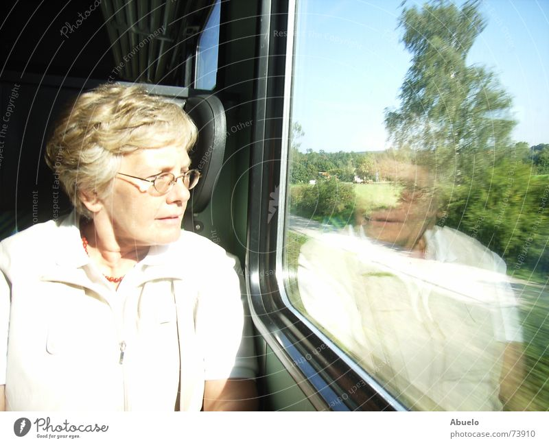 ...in thoughts already in Munich Woman Bavaria Chiemgau Reflection Train travel Vacation & Travel Railroad db reverse bayernticket