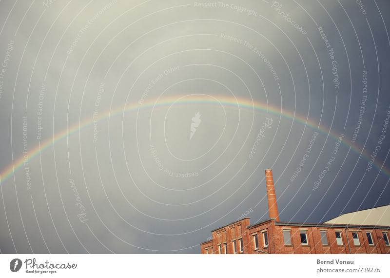 color wheel Weather Rain Factory Beautiful Rainbow Multicoloured Curve Circular Sky Above Arch Brick Brick red Old Industry Chimney Storm Clouds Colour photo