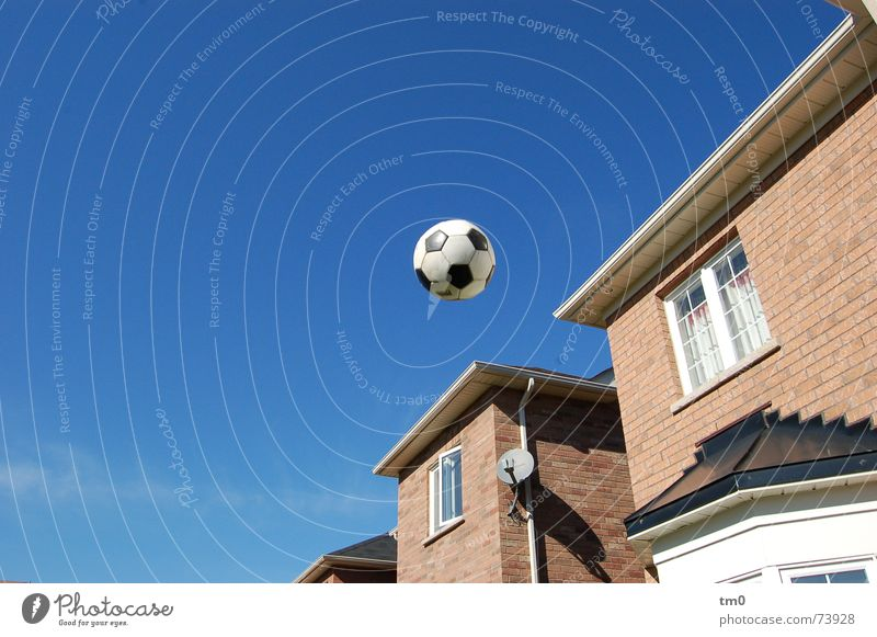 kick and win(dow kaputt) Beautiful weather Window House (Residential Structure) Town house (Terraced house) Soccer fair weather football Sky Flying