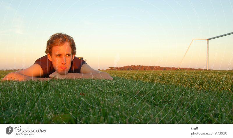 Human being Sky Sun Calm Relaxation Grass Dream Horizon Success Lawn Ball Gate Sportsperson Football pitch Sporting grounds Rest