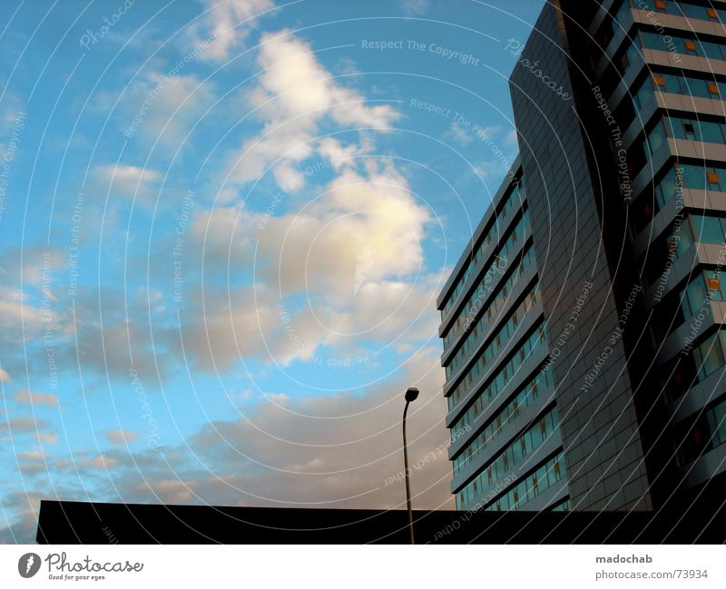 Sky City Blue Clouds House (Residential Structure) Window Life Architecture Building Freedom Flying Above Work and employment Flat (apartment) Design Weather