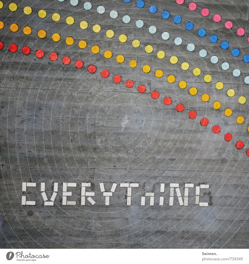 Hessian meeting 14 l ... is a rainbow Wall (barrier) Wall (building) Sign Characters Exceptional Dirty Multicoloured Moody everything Point Concrete Reflector