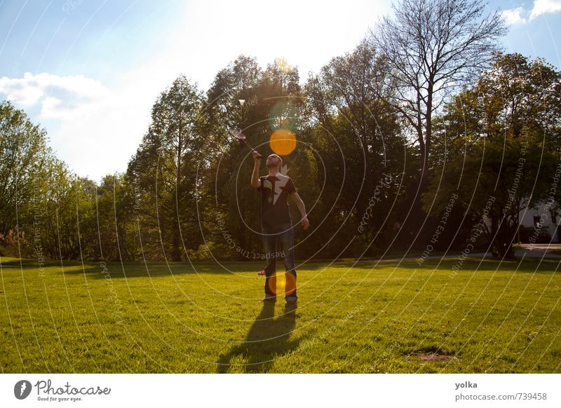Man is playing badminton Lifestyle Joy Leisure and hobbies Playing Vacation & Travel Freedom Summer Sports Badminton Human being Masculine Young man