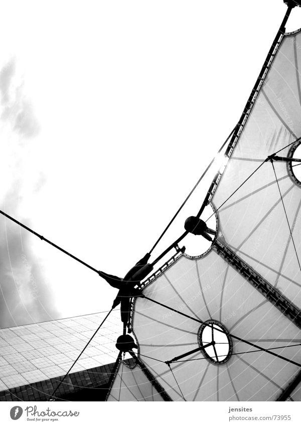 Sky Sun Corner Roof Paris Easy Construction Fragile Black & white photo Stability La Défense La Grande Arche