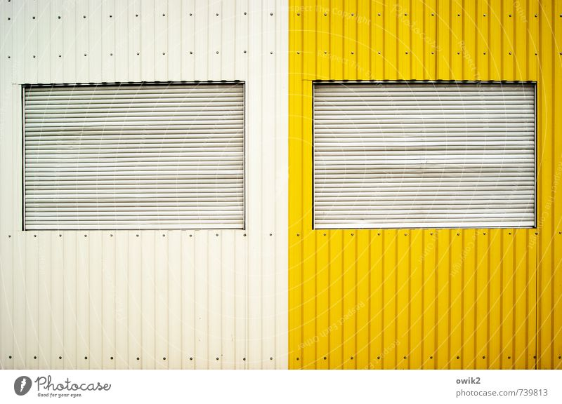 Me & Me Wall (barrier) Wall (building) Window Metal Sharp-edged Simple Closed Shutter Tin Container White Yellow Dye Colour photo Exterior shot Abstract Pattern