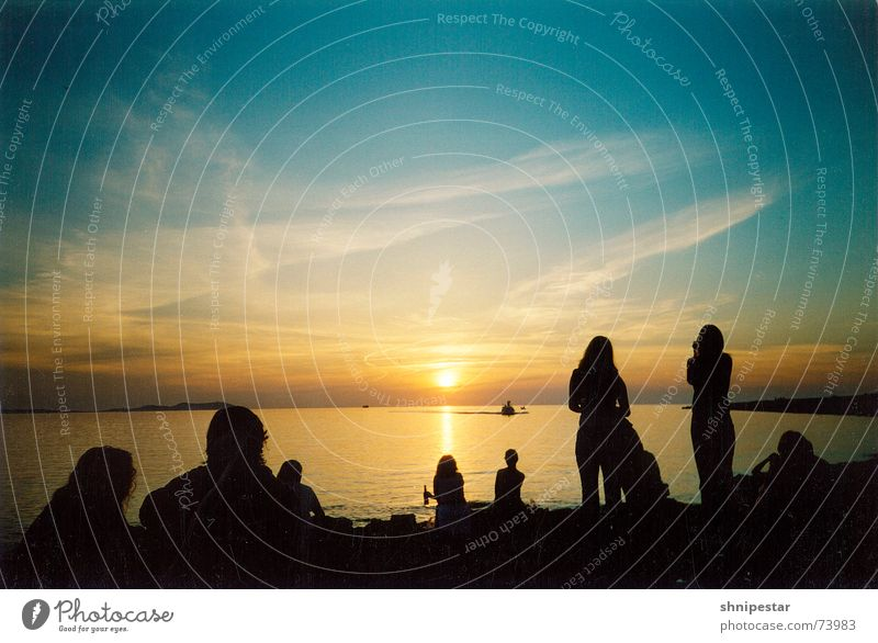 Live @ Café del Mar Colour photo Copy Space top Twilight Shadow Silhouette Reflection Sunlight Sunbeam Sunrise Sunset Back-light Beautiful Relaxation Beach