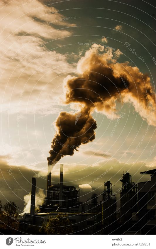 chain smoker Technology Industry Chimney Exhaust gas Environment Sky Clouds Climate Factory Threat Gigantic Dangerous Environmental pollution