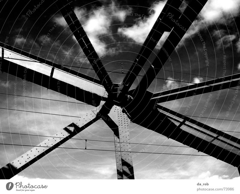 Hohenzollern bridge Cologne Hohenzollern Bridge Clouds Steel Steel carrier Black & white photo Sky Architecture