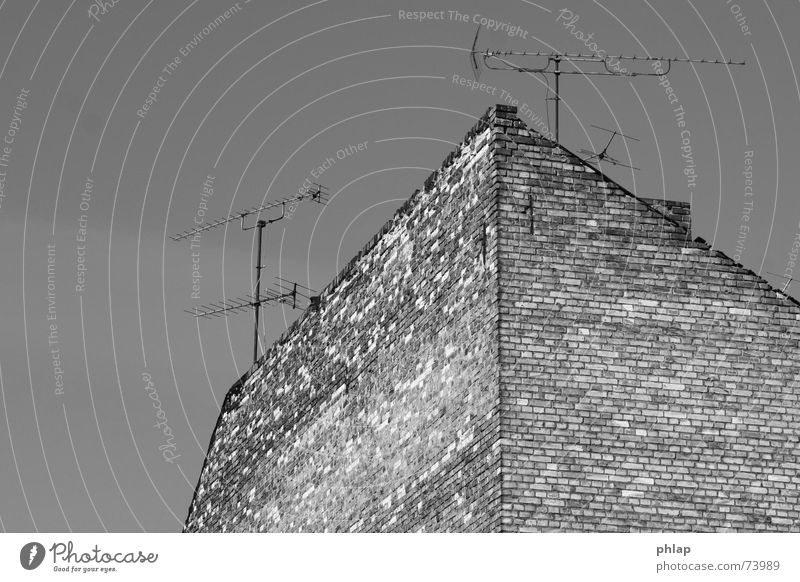 Mountain of conception Antenna Wall (building) Brick House (Residential Structure) Precarious Ruin Vacancy Television Old building Romance Black White
